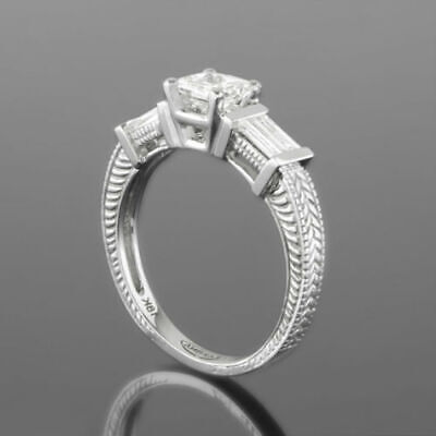 Colorless Ornate Diamond Ring 3 Stone 18 Kt White Gold 1.38 Ct Real Size 6 7 8