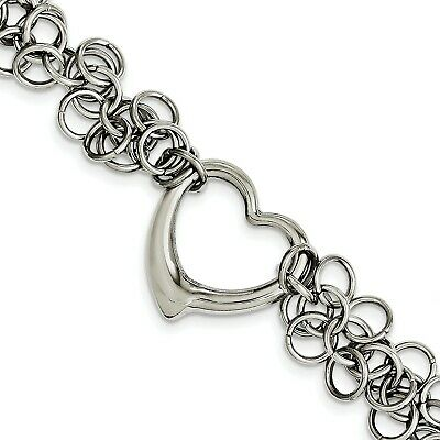 Stainless Steel Polished Circles w/Heart 7.5in Bracelet