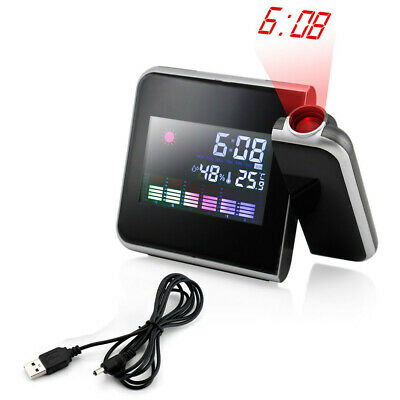 US Projection Digital LED Projector Weather Station Snooze Alarm Clock Calendar
