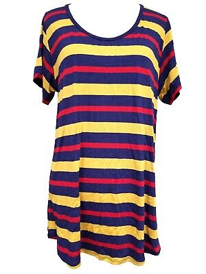 New Lularoe Classic T Shirt Large navy blue yellow red striped stripes soft