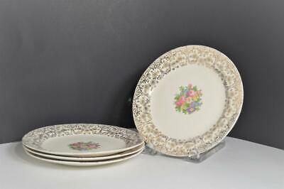 "Homer Laughlin Eggshell Nautilus Hope 22K Gold/Floral Dessert 7"" Plate Lot of 4"