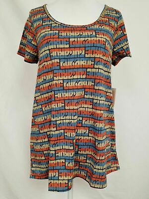 New Lularoe Classic T Shirt Large Americana navy blue red tan text striped soft