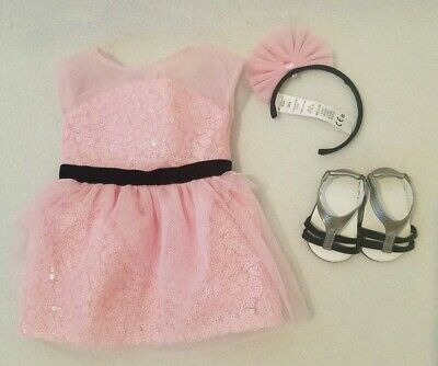 American Girl Grace OPENING NIGHT OUTFIT Pink Dress Shoes Headband Doll not inc