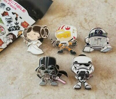 Disney Trading Pins Lot of 5 from Star Wars Cute Mystery Set Vader Luke Leia