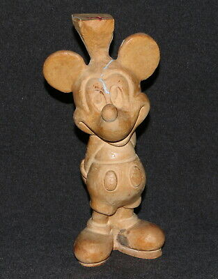 "Disney Mickey Mouse Wood Statue Figurine USA 10"" Hand Carved In Progress"