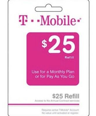 T-Mobile $25 Prepaid Refill Air Time Top Up/pin Prepaid Card Loaded directly