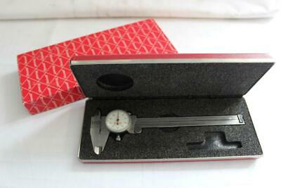 """Starrett 120Z 6"""" Dial Caliper White Dial With Red Case (EDP-55951) - EXC!"""
