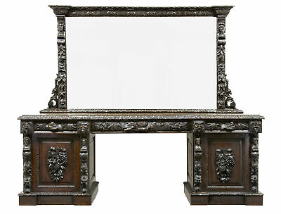 19Th Century Carved Oak Mirrored Sideboard Dresser Bar