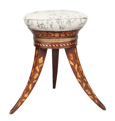 19Th Century Dutch Walnut Marquetry Stool