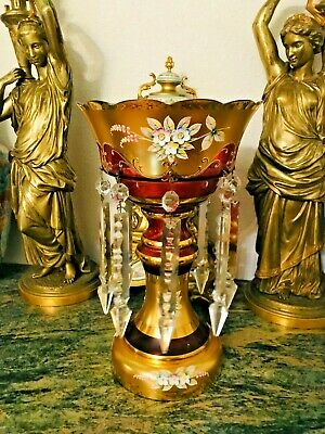 Czech Bohemian Antique Large  Ruby Red Crystal Moser Glass Enamel Lusters Vase