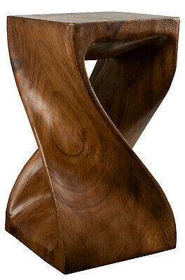 Carved Stool Solid Twisted chair Wood Column Wooden Stand Chair Side Table Brown
