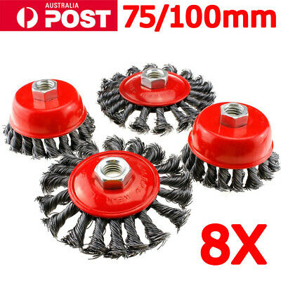 8x Twist Knot Wire Wheel Disc & Cup Brush Set Kit for Angle Grinder M14 Crew OZ