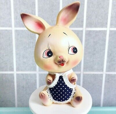 Vintage Big Eyed Bunny Chalkware Coin Bank Kitsch Japan