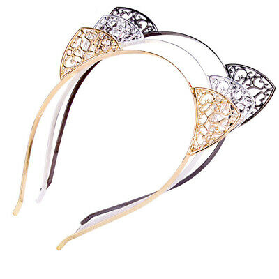 Girls Cute Crystal Cat Ears Rhinestone Headband Bezel Hairband Hair Headdress CA