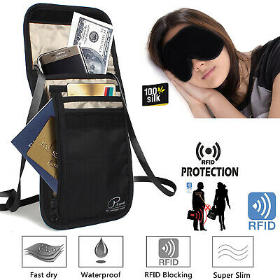 Neck Wallet [2019 New Model] - Hidden RFID Pouch Passport Holder Silk Sleep Mask
