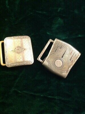 Vintage Lot Of Two Gold Tone And Silver Belt Buckles Mayward Giantgrip