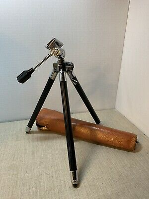 Challenger 357-C Portable Camera Tripod, Japan w Leather case