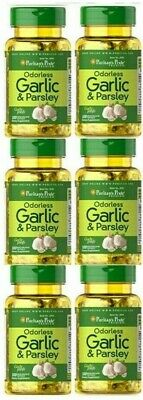 Garlic Parsley Odorless 600 softgels Cholesterol Health Pills antioxidant 7/2021