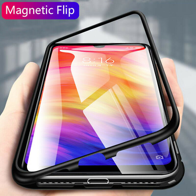 For Xiaomi Redmi 8A Note 8 7 Magnetic Adsorption Metal Case Tempered Glass Cover
