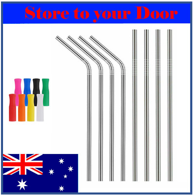 Stainless Steel Eco Drinking Straws x 6 8 10 12 Metal Reusable Straws + Brushes