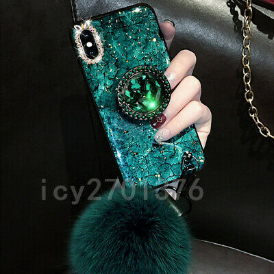 3D Nice Bling Marble ring holder KickStand Soft Phone back Cover Case For iPhone
