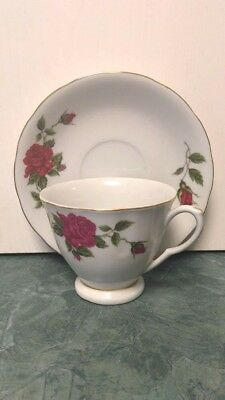 Asian Floral Red Rose Teacup and Saucer