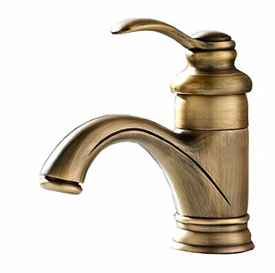 Antique Brass Bathroom Sink Faucets Single Handle One Hole Deck Mount Lavatory