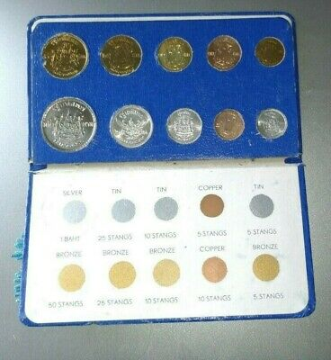Thailand 10-Coin Mint Set With Silver Baht Blue Case