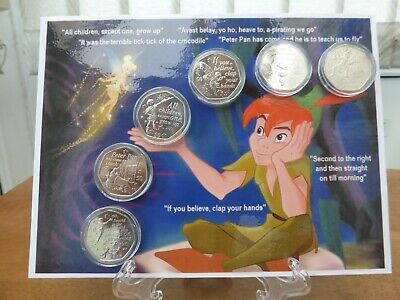 Peter Pan Iom 6 Coin Uncirculated Set On Laminated Display Card With Stand(New)