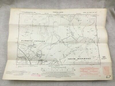 1950 Vintage Map of East Sussex Tarring Neville South Heighton