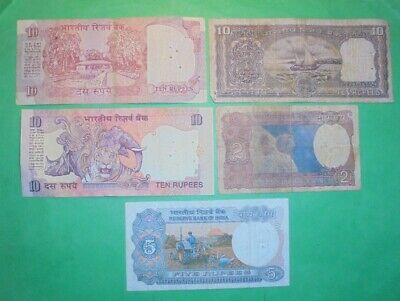 5X India Banknotes (All Have Staple Holes)
