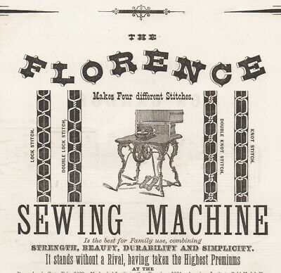 Super-rare Florence antique sewing machine sales advert 1860s - music related