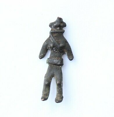 Prehistoric, Iron Age Bronze votive female fertility goddess (idol figure)