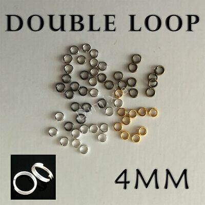 Silver Double Loop Open Jump Rings Split Key Ring Keychain Round 4mm DIY