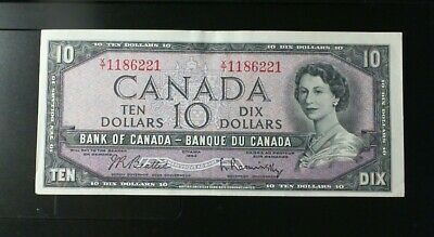 1954 Bank Of Canada  ($10.00 ) Ten Dollar Banknote Beattie Rasminsky  Modified