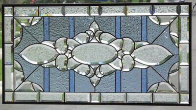 """HUGE Beveled Stained Glass Window Panel • 36 5/8"""" x 18 3/4"""""""