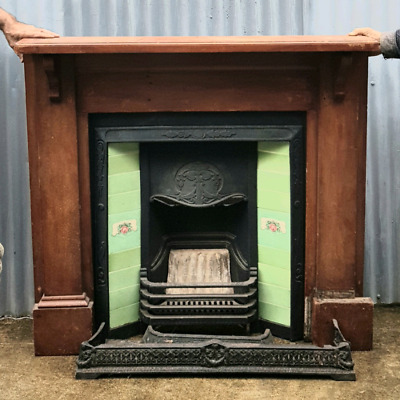 Art deco tiled  fireplace and surrounds