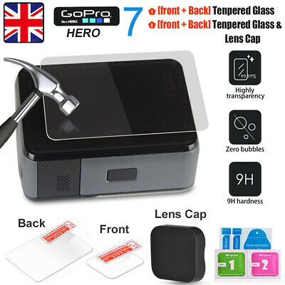 Gopro LCD Screen Protector Film Tempered Glass + Lens Cap/Cover For Hero 5/6/7