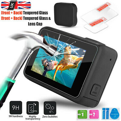 Gopro LCD Screen Protector Film Tempered Glass Lens Cap/Cover For Hero 5/6/7 UK
