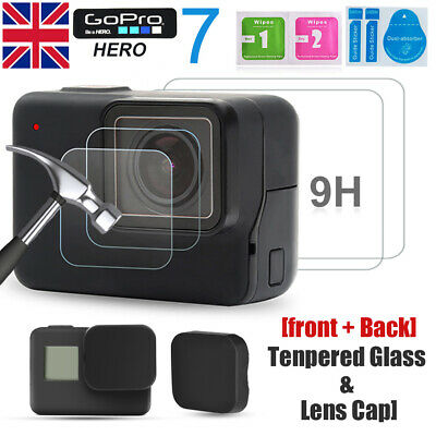 Gopro LCD Screen Lens Cap + Tempered Glass Screen Protector For GoPro Hero 5 6 7