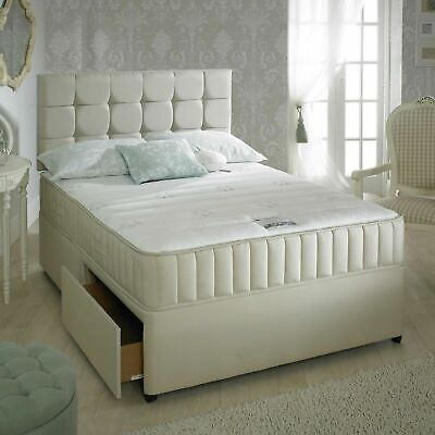 STONE DIVAN BED SET + MEMORY MATTRESS + HEADBOARD 3FT 4FT 4FT6 Double 5FT