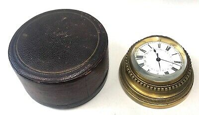 Lovely Antique Bronze / Brass Desk Sedan Clock In Leather Travel Case
