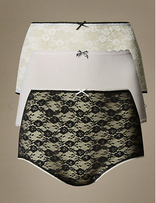 M&S Collection 3 Pack(Black/ White) Cotton Blend Lace Waist Full Brefs