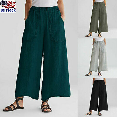 US Women Palazzo High Waist Wide Leg Culottes Trousers Ladies Loose Long Pants