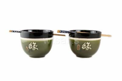 Destiny Pair Japanese Style Noodle Bowls Rice Bowl Chinese with Chopstick Set