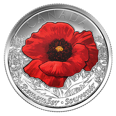 CANADA 2015 New 25 cents In Flanders Fields COLOR (BU directly from mint roll)