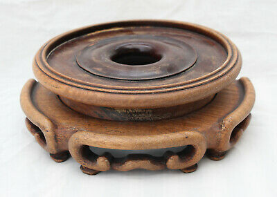 Good Antique Chinese Carved Wooden Vase / Bowl Stand