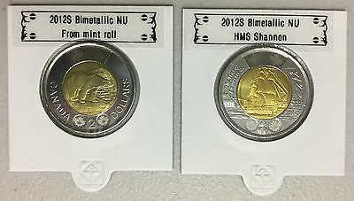 CANADA 2012 New Complete set 2 x Toonies (BU directly from mint roll)