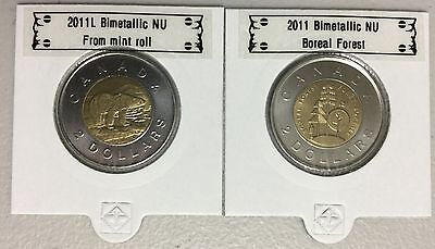 CANADA 2011 New Complete set 2 x Toonies (BU directly from mint roll)
