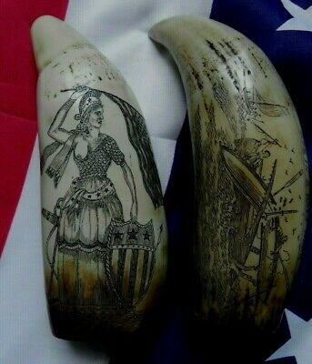 Faux Scrimshaw Freedom & Liberty Whaler Ship & Bark Veronica Exquisite Quality